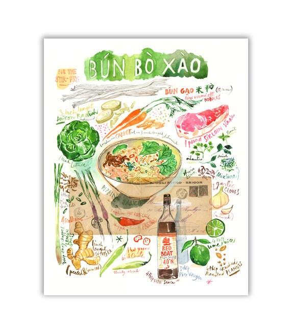 Bun Bo Xao Vietnamese Recipe Painting Print Kitchen Wall
