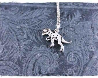 Silver T-Rex Necklace - Sterling Silver T-Rex Charm on a Delicate Sterling Silver Cable Chain or Charm Only