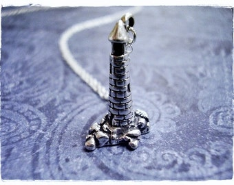 Silver Lighthouse Necklace - Sterling Silver Lighthouse Charm on a Delicate Sterling Silver Cable Chain or Charm Only
