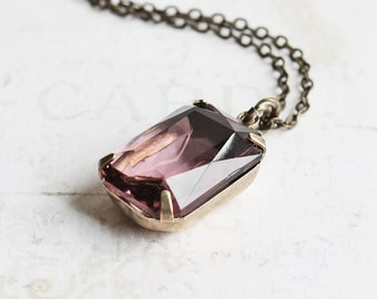 Large Lavender Purple Rhinestone Pendant Necklace on Antiqued Brass Chain (Vintage Glass)