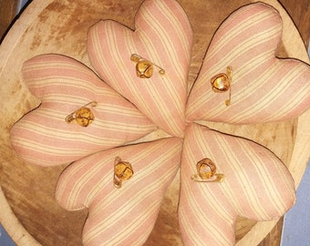 Set Of 5 Primitive Homespun Heart Ornies-Pink Stained