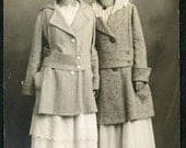 Young Women In White COTTON Dresses with Wool Coats and STYLISH SPRING Hats Photo Postcard 1916