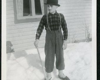 Boy Dressed as CHARLIE CHAPLIN Standing in the Snow HALLOWEEN Costume Photo circa 1940s