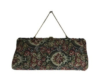 Vintage Tapestry Purse / Tapestry Hand Bag / Floral Handbag / Tapestry Evening Bag / Gold Chain Purse / Tapestry Clutch / Floral Clutch