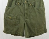 Vintage Army Green Shorts, Size Small, Grunge, 90's Clothing, Cargo, Utilitarian, Utility Clothes, High Waisted Shorts
