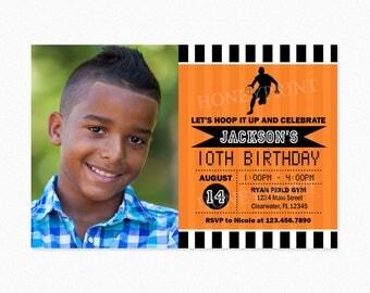 Basketball Birthday Party Invitation, Black and Orange, Boy, Basketball Invites, Printable and Printed