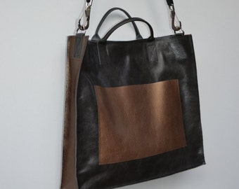 CLEARANCE SALE! large black and bronze leather briefcase style bag with handles and removable strap