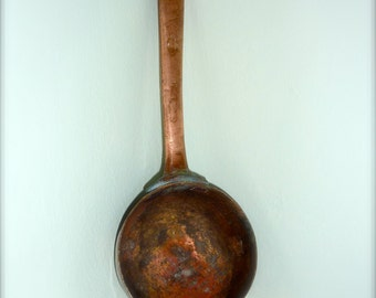 Antique Vintage Copper Ladle Water Dipper Spoon Rustic Round Bowl