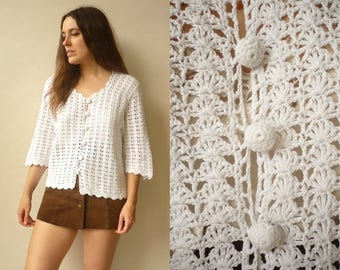 1970's Vintage Hand Knitted White Crochet Hippie Festival Top Cardigan