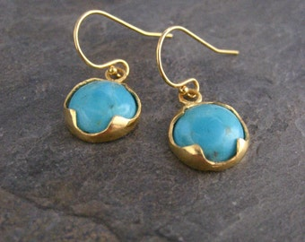 Turquoise earrings, genuine turquoise, prong setting, turquoise cabochons, dangle earrings, turquoise drop, gold earrings, blue turquoise