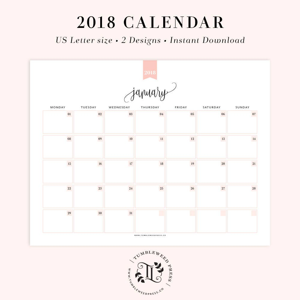 Printable Yearly Planner 2018: 2018 Printable Calendar Monthly Planner Printable Month At A