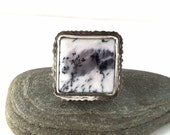 Dendritic Opal Ring, Sterling Silver Ring with Wolf and Deer - Size 8 - Step Lightly