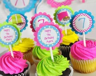 Pajama Party Birthday Cupcake Toppers, Sleepover, Slumber Party, Pancakes and Pajamas Birthday, Girls Birthday Party Decorations - Set of 12