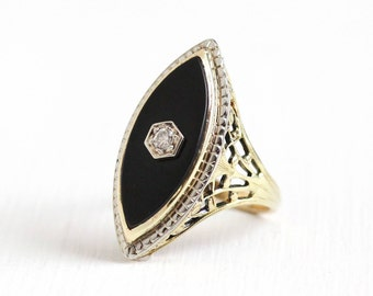 Antique Art Deco 14K Yellow and White Gold Black Onyx & Diamond Ring - Vintage 1920s Size 6 Filigree Gemstone Statement Navette Fine Jewelry