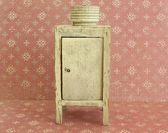 Miniature Chippy Wooden Doll Refrigerator, Monitor-Top