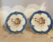 Pair Antique French Cherub or Angel Plates, Blue Trim on White, Bouquet of Antique Roses