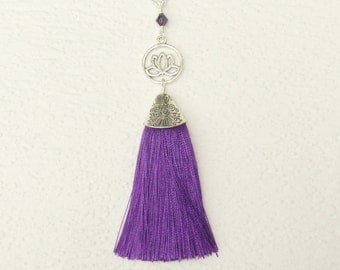 Silver Tassel Necklace, Silk Tassel Necklace, Purple Necklace Tassel, Long Tassel Pendant Necklace, Purple Silk Long Tassel Necklace For Her