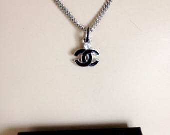 "PERSONAL - REAL Chanel Pendant with cz on Silver Looking Chain. 17"" adjustable shorter"