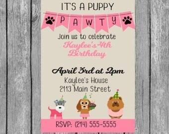 Puppy Party Invitation, Puppy party invites, Puppy party invite, Puppy party, puppy Party Invitations, puppy party invites, invitations