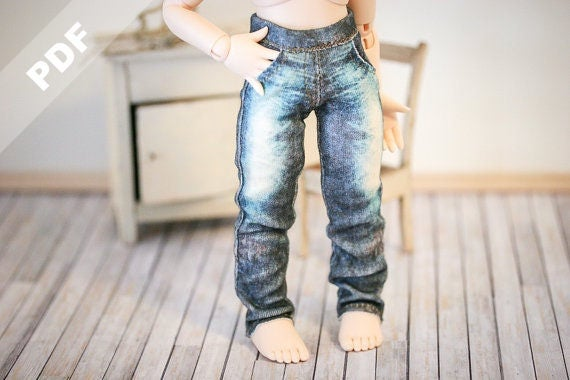 "PDF Pattern: ""Stretch Jeans"" for YoSD/Tiny BJDs, Forever Virginia 15cm Pet and Blythe dolls"