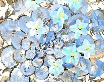 Floral - original painting, Blue Blossoms and Blue Zinnia Flower painted on Vintage Wallpaper