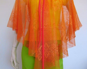 Orange Crush floaty cape made from vintage 70s fabric
