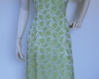 Vintage 60s cocktail dress with yellow & green metallic paisley