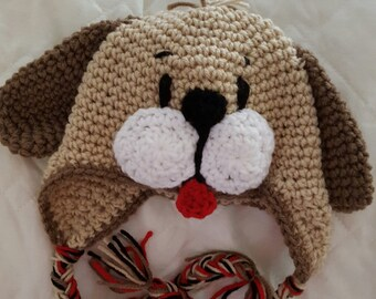 Puppy Hat,  Photo Prop, Animal Hat, Newborn to 4T, Cbbcreations/Crochet