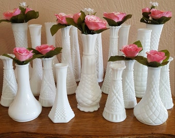 20 White Milk Glass Bud Vases, Wedding Decor Table Centerpieces - Lot 5 - Oak Hill Vintage