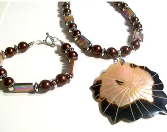 Brown Lip Shell Pendant & Mother of Pearl Necklace Set, 3 Piece Set, Statement Necklace