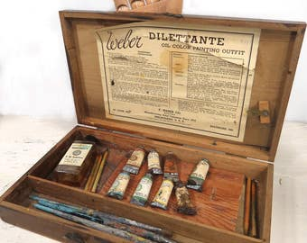 Vintage Weber Photo Oil Color Artist's Paint Set, Dilettante, Wood Box