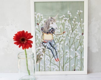 White unicorn with ladybirds and gypsophila flowers illustration print. A4 unframed. Summer home decor. Wall art. Childrens print/ gift.