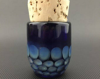 Honeycomb Glass Jar //Pocket Hand Blown Cobalt Jar // Airtight Cork