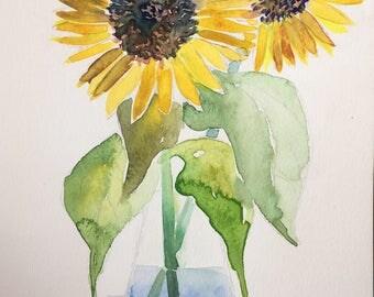 Sunflowers in Vase - Original Water Color