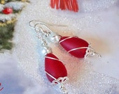 Cherry red seaglass beads white pearl tumbled glass beads earrings beach earrings wire wrapped earrings nickel free