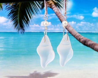 White conch shell tumbled sea glass beads white pearl beach earrings silver wire wrapped coastal jewelry