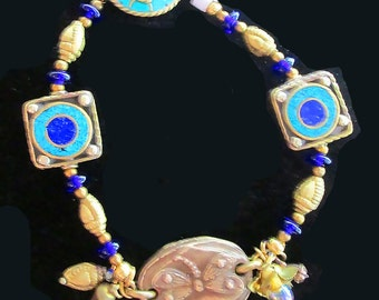 Bronxze Butterfly Focal Bead with Brass, Lapis and Turquoise