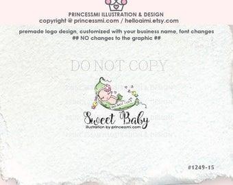 1249-15 Newborn logo, Premade Logo Design, sketch BABY logo, pea bird logo , photography