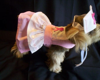 Cancer Awareness Nurse Dog Harness Dress Costume XXXS, XXS. XS. S. M