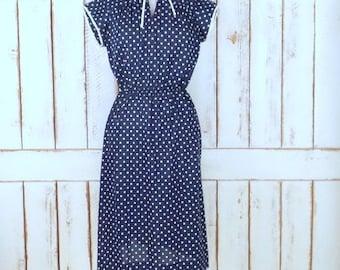 Vintage blue/white polka dot sheer cap sleeve stretch jersey knit cotton midi dress/mandarin collar dress/rockabilly style