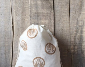 Handstamped Latte Art 10 x 12 Project Bag - Coffee Lovers - Latte Art - Yarn Bag - Project Bag - Knitting Bag - Crochet Bag - Gifts for Her