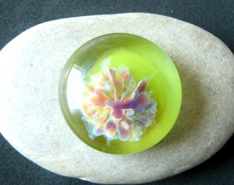 Lime Green Floral Cabochon - Lampwork Glass Cabochon - Jewelry Making Supply - 26mm
