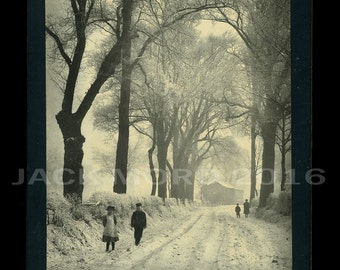 Beautiful Victorian Christmas Greeting Cabinet Photo ~ Snowy Woods ~ 1890s
