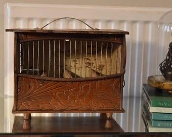 Vintage birdcage, carved wood birdcage, antique birdcage, wooden birdcage, birdcage