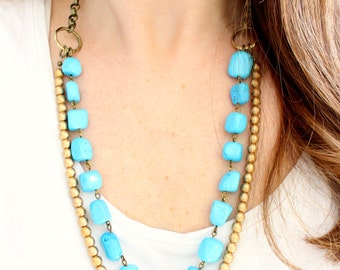 Turquoise and gold beaded statement necklace, multi layer necklace