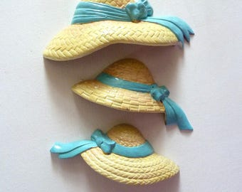 Burwook Products Straw Hats Plastic Wall Hangings 3 Pieces