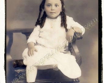 Pretty Girl with Big Bow  Instant Download Vintage Photo