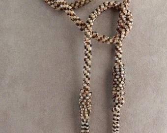 Vintage 1920s Crochet Glass Bead Lariat Flapper Necklace    NDN13