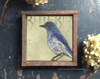 Bluebird Print, Blue Bird Art, Blue Bird Small Original Art Print, Cottage Chic Wall Decor, Framed Bird Art Print, Bluebird Artwork
