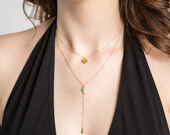 Turquoise Y-chain Necklace // 14kt Gold  // Geometric Jewelry // Y- Chain // Simple Everyday Jewelry // Turquoise // Layering Necklace